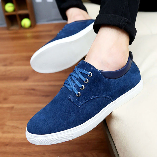 New fashion spring/summer suede  casual flats shoes men sneakers lace-up breathable men shoes 39-48 plus size