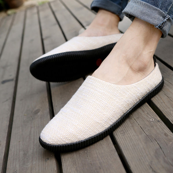 new pedal lazy shoes linen casual shoes men driving the trend of half of the men's shoes large size
