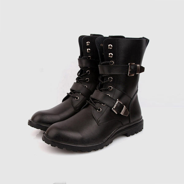 Fashion men Thick Warm Black Shoes Motorcycle Martin Boots British Style Gothic Punk Plus Size