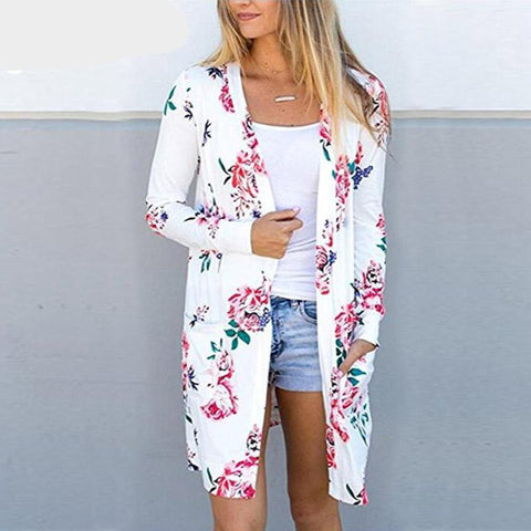 Aproms Cute Floral Print Basic Cardigan Coat Women Plus Size Open Stitch Jacket Streetwear Fashion 2018 Coats Female Outerwear