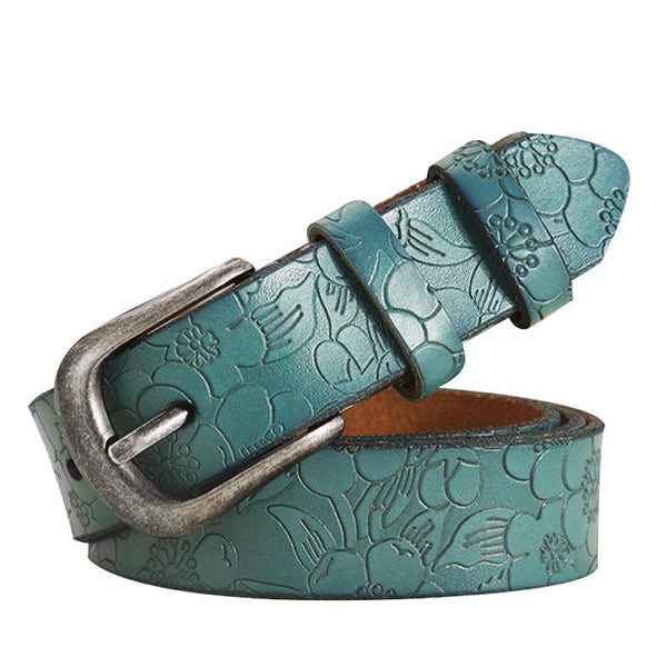 New Women Belt Thin Genuine Leather Belt woman 5 Colour Floral carved Belts For Women Ceinture Femme