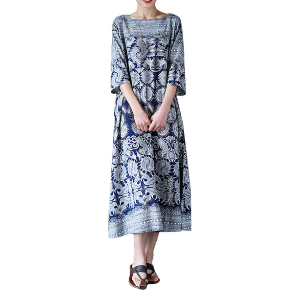 Maxi Dress Womens Oversized Print Half Sleeve Casual Loose Cotton Dress Chinese Style Dress Ankle-Length Dress