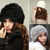 Fashion Russian Lady Rabbit Fur Knitted Cap Women Winter Warm Beanie Hat -Y107