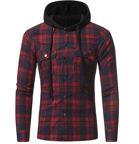Autumn Fashion Shirts Men Casual Brand Clothing Men Shirt Long Sleeve Casual Lattice Hooded Camisa Social XXXL