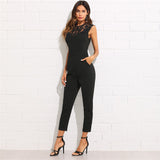 Solid Jumpsuit Plain Black Round Neck Sleeveless Button Pocket Clothing Women Elegant Work Jumpsuit