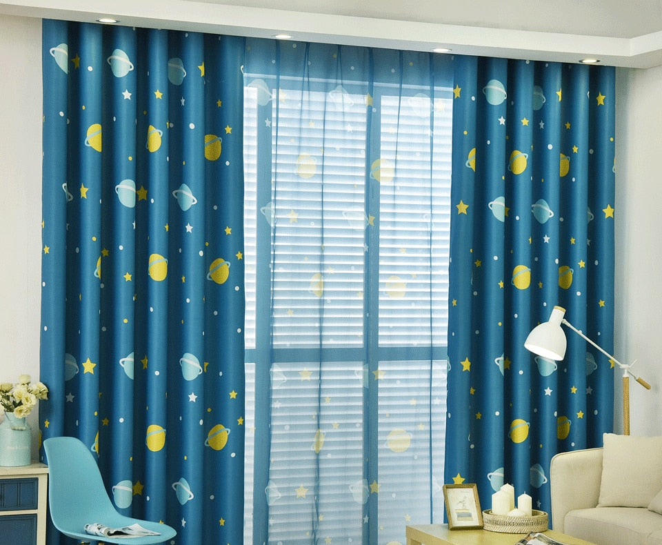 Blue Planet Star Cartoon Window Blackout Curtains For Children Baby Boy  Kids Bedroom Curtains Living Room Home Decor Cortina