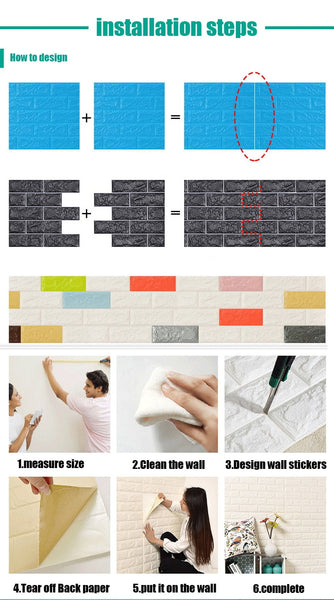 3D wall stickers wall brick pattern self adhesive wallpaper bedroom living room decoration waterproof Home Decor wall stickers