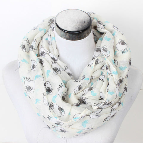 New Women Sheep Ring Scarf Lovely Flower Chevron Print Loop Scarves Female Goat Infinity Shawl Stripe Animal Wrap