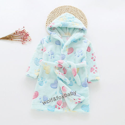 2-10 years cotton dressing gowns flannel home gown children's home clothes line with bathrobe pajamas autumn fall winter