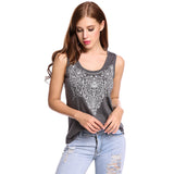 Meaneor Tank Top Women Casual O-Neck Sleeveless Prints Elastic Pullover Feminino Cami Tank Tops Tees Sexy Casual Summer Blouses