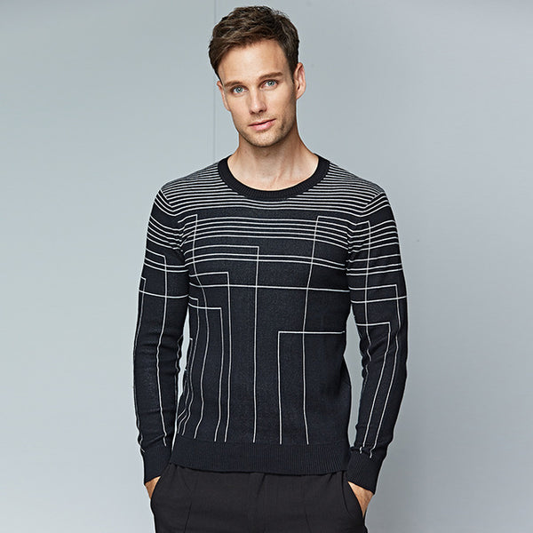 Men's Sweaters Black Long Sleeves Warm New Fashion Casual Sweater Men Slim Fit 100% Cotton Pullovers Pull Homme Size M 3XL