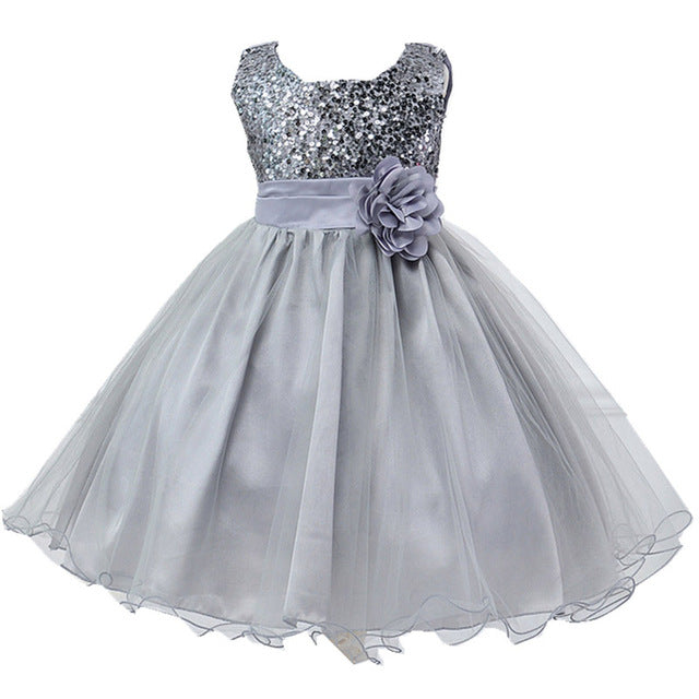 Summer Dress Girls Clothes Sequins Bowknot Dress 2018 Round neck Party wedding dress For Girls Kids Clothing Vestidos 10 12 Year