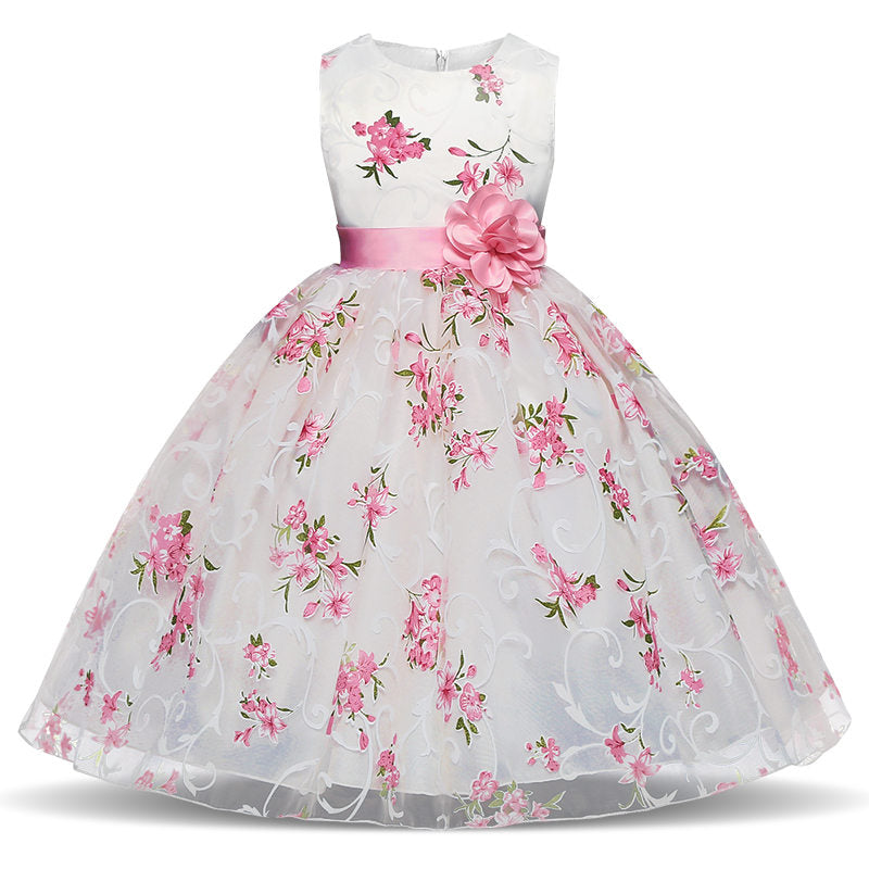 33946f6fa9d6a Elegant Flower Fancy Dress for Girl Pageant Party Formal Party Dress Girls  Wedding Flower Girl Children Princess Clothing 4-10Y