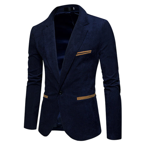 e865709b77 New Fashion Casual Men Blazer Corduroy Patchwork Mens Business One Button Slim  Fit Masculino Male Suits