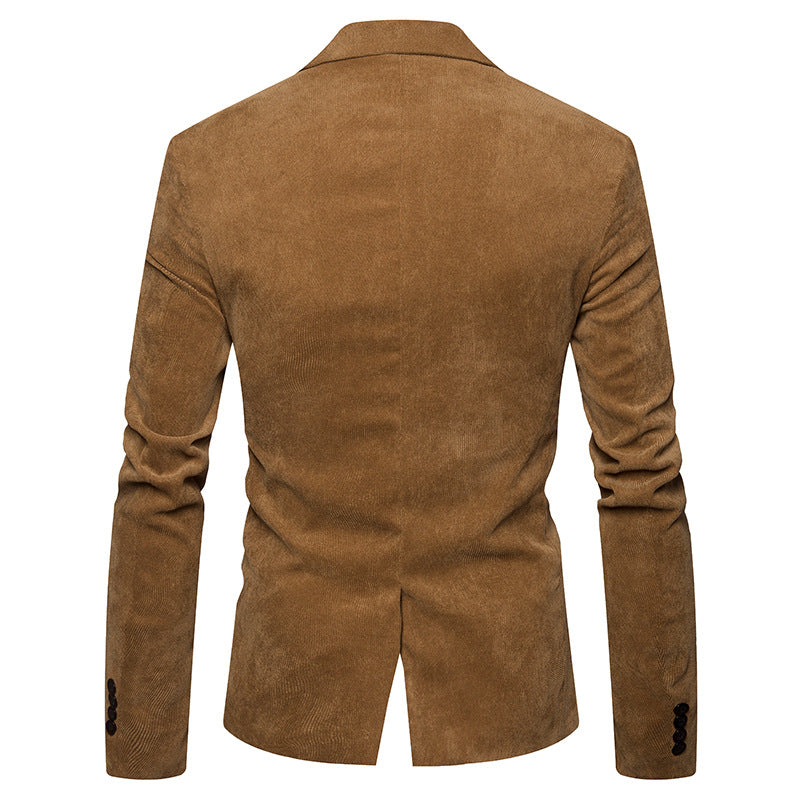 New Fashion Casual Men Blazer Corduroy Patchwork Mens Business One Button Slim Fit Masculino Male Suits Jacket Blazers M-XXXL