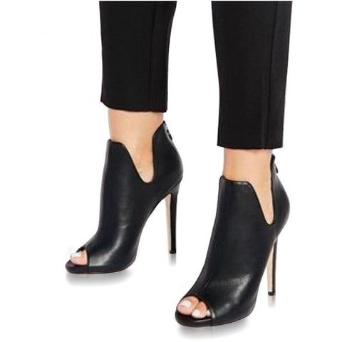 Eilyken Spring/Autumn Gladiator V Mouth Women Pumps Zipper Fashion Black Sexy  Peep Toe Cover Heel Pumps 12CM Size 35-40