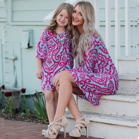 family matching mother daughter dresses clothes print mom and daughter dress kids parent child outfits