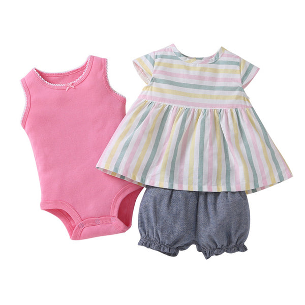 Special Offer New Arrival Cotton Fleece Full Kids Baby For Bebes Girl 3pcs Set Dress And Romper ,pinks Colors Clothing