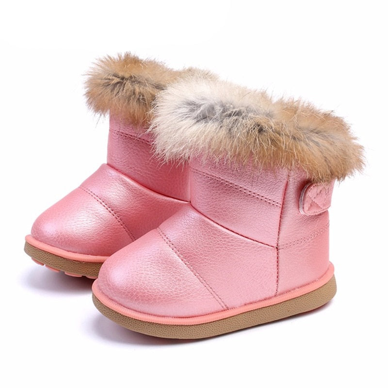 Winter Toddler Baby Snow Boots Shoes Warm Plush Soft Bottom Baby Boys Girls  Boots Leather Winter Snow Boot Kids Shoes