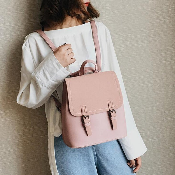 2018 Fashion New Women Backpack School bag High-quality Scrub PU leather Female bag College wind Hit color Travel Books Rucksack