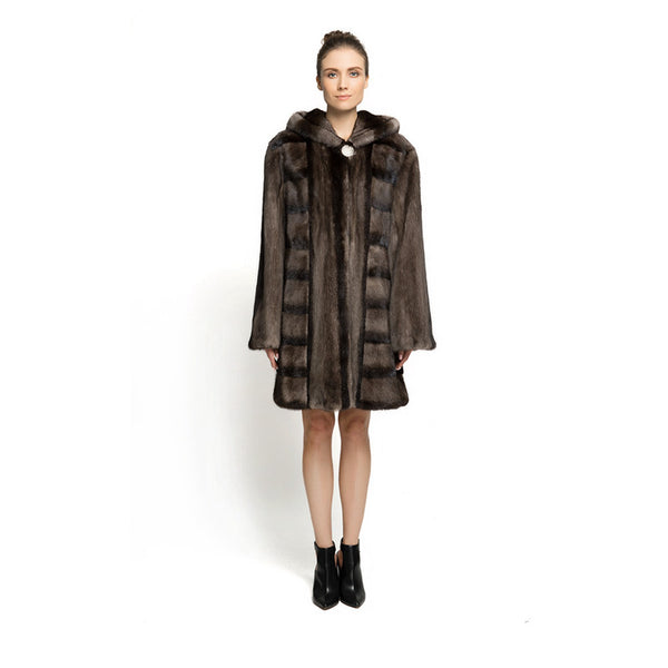 New Design Ladies Luxury Especially Real Mink Fur With Mink Fur Hooede long Fur Coat  Solid Fur Long Jacket