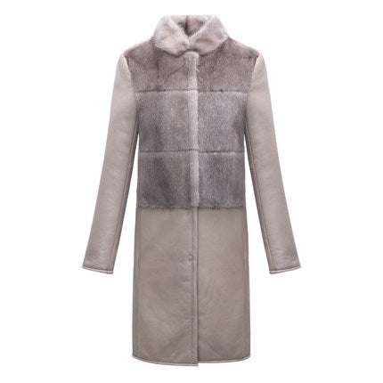 Soft Women Real Natural Full Whole Pelt Sheepskin Coat Jacket Waistcoat with Real Natural Mink Fur Collar Shawls