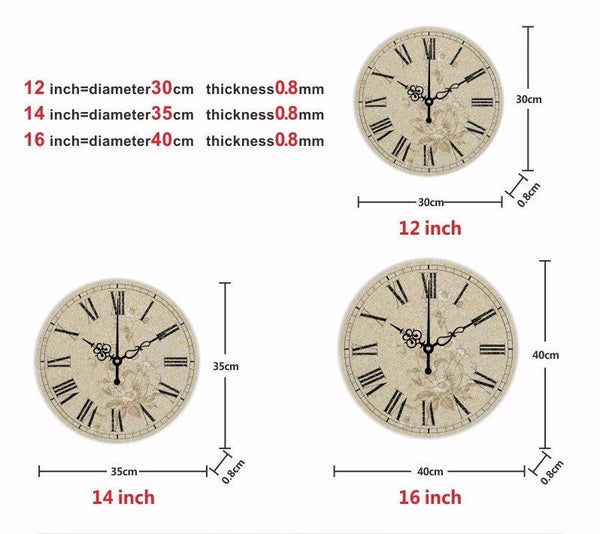 absolutely silent bedroom decor wall clock Pastoral style home decoration watches waterproof clock face wall decor clocks gift