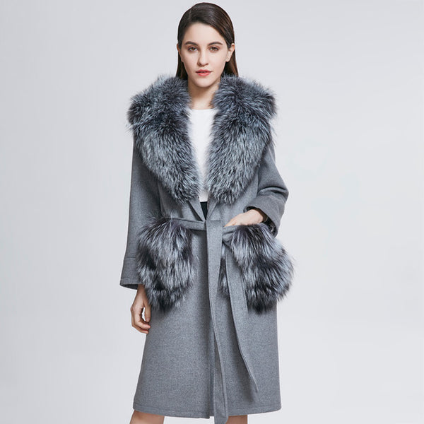 Women Real Fur Coats Lady Fashion Woolen Parkas Female Real Fox Fur Clothes Outerwear Brand New Style Coat ZC1812