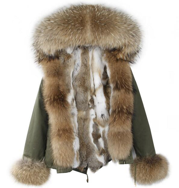 Winter Women High Quality Rex Rabbit Fur Coat Famale Raccoon Dog Fur Collar Long Sleeve Cotton Parka Luxury Street Style