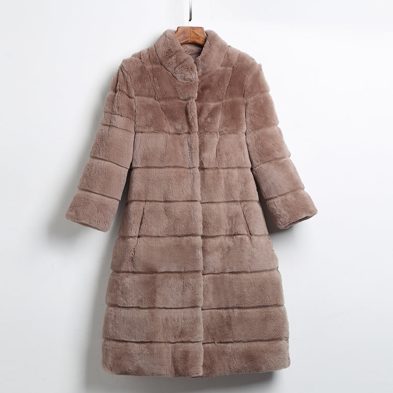 Long Style High Quality Natural Rex Rabbit Fur Coats Outerwear Women Wave Cut Stand Collar 3/4 Sleeve Winter Real Fur Jackets
