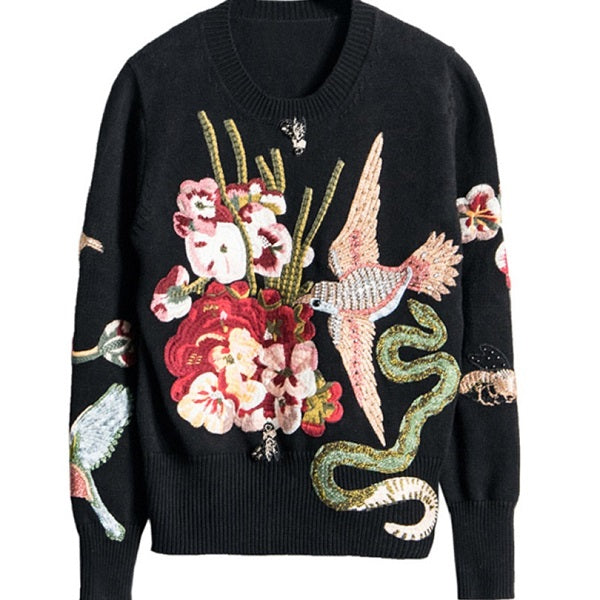 Winter Runway Women Luxury Black Beading Bird Embroidery 2018 Spring Vintage Pullovers and Sweaters Ladies Knitted Jumper Top