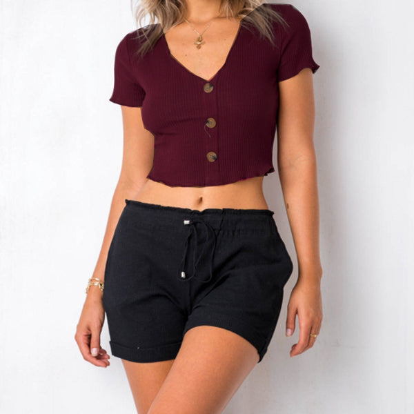 Summer Streetwear Crop Top Women High Elastic Knitted Tees Short Sleeve V Neck Buttons Slim Casual Tops Cropped