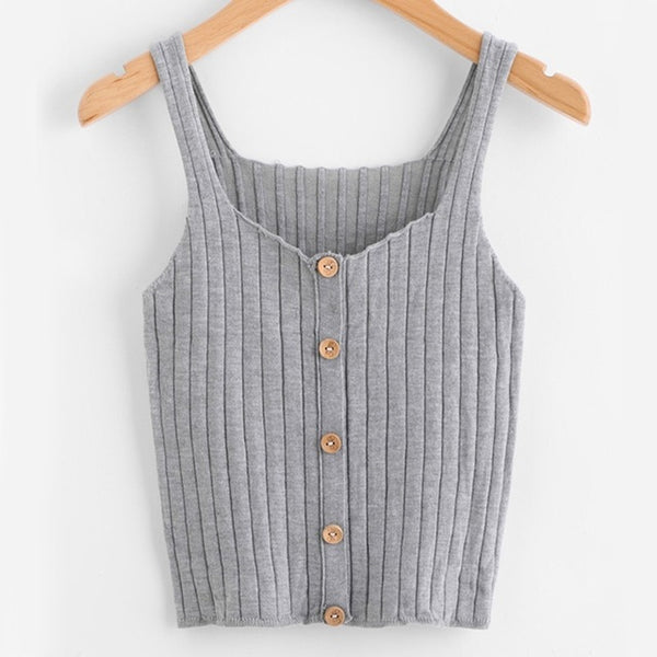 Ladies Button Up Rib Knit Plain Top New Arrival Scoop Neck Vacation Vest Women Autumn Skinny Casual Camisole