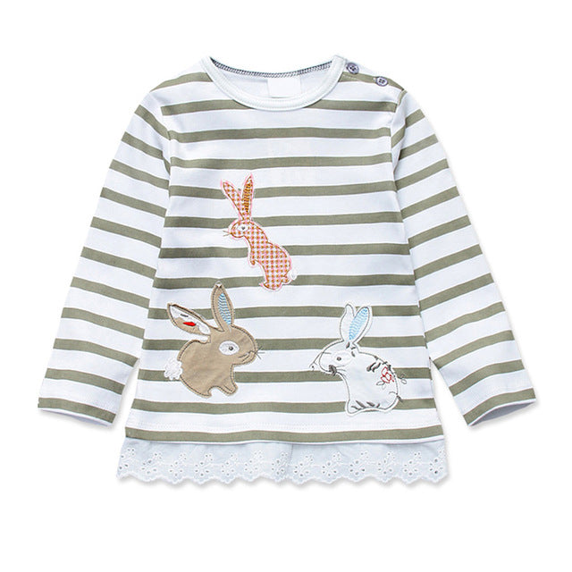 Girls T Shirts Autumn Long Sleeve Kids Clothing Rabbit Bunny Lace T-Shirt Striped Pullover Children Cartoon Clothes for Girl