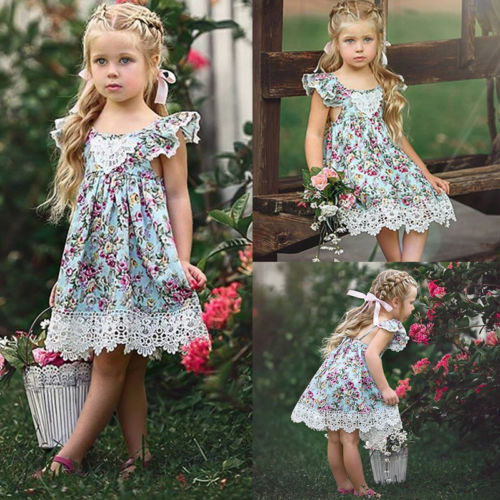 New Flower Lace Dress Princess Kids Baby Girls Sleeveless Dress Floral Tulle Party Wedding Dress Children Summer Sundress