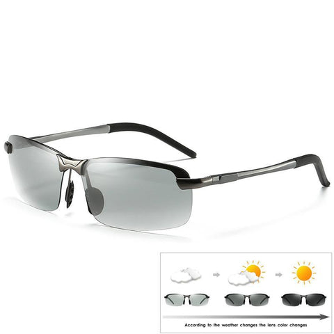 828f5d28563f3 Rimless Driving Photochromic Sunglasses Men Polarized Chameleon  Discoloration Sun glasses for men oculos de sol masculino