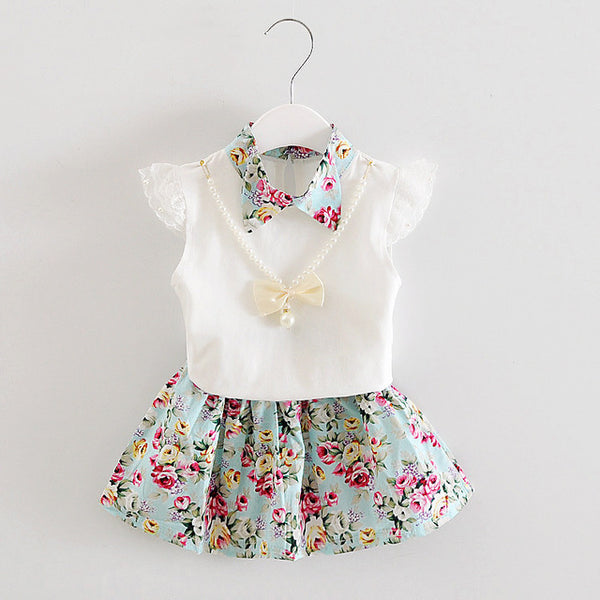 New Summer Children Necklace Clothing Sets Girl T-shirt Skirt 2Pcs/Sets Fashion Baby Floral Suits Infant Casual Outfit