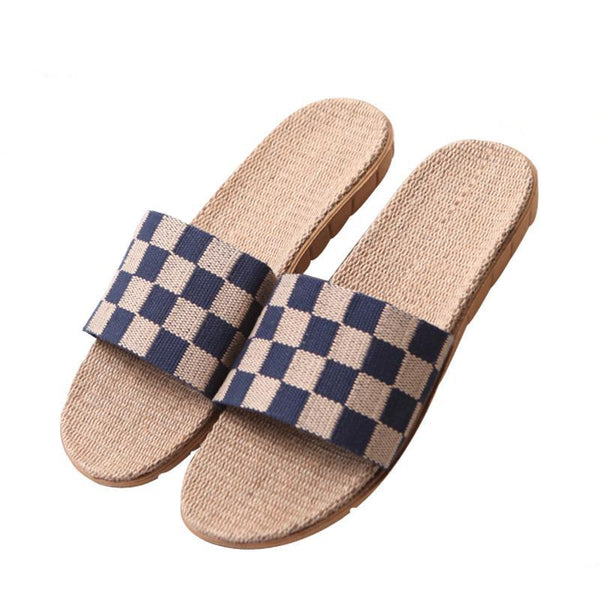 Men's Summer Checkered Flat Canvas Flax Slippers Non-slip Beach Flip Flops Men's Breathable Linen Slippers Home Slippers