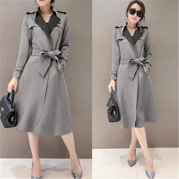 New Autumn Suede Trench Coat Women Abrigo Mujer Long Elegant Outwear Female Overcoat Slim Red Suede Cardigan Trench C3487