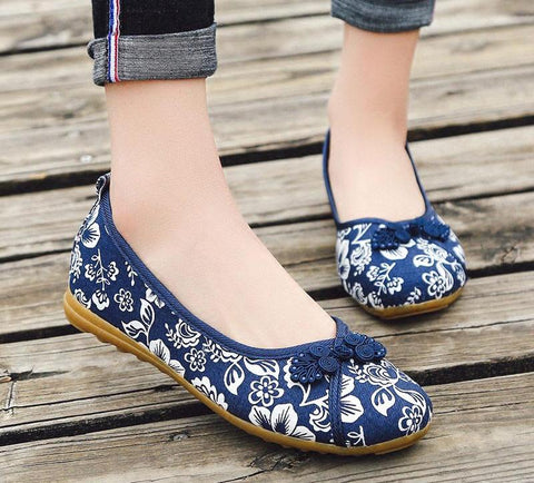 Knot Women Floral Fabric Ballet Flats Spring Summer Vintage Ladies Comfort Slip on Canvas ballerinas Shoes