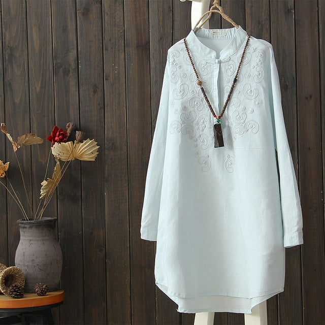 High Quality Blue White Long Shirt Female Ethnic Woman Casual Cotton And Linen Blouse Full Sleeve Loose Stand Collar One Button