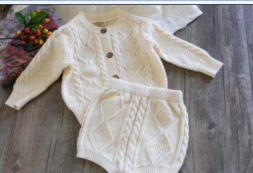 Baby Clothing Set Spring Knitted Baby Clothes Long Sleeve Cotton Newborn Baby Outfits Sweater Cardigan + Shorts 0-24 Month
