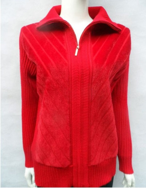 Autumn Winter New Middle-Aged Women Zipper Sweater Turndown Collar Long Sleeve Casual Cardigan  W509
