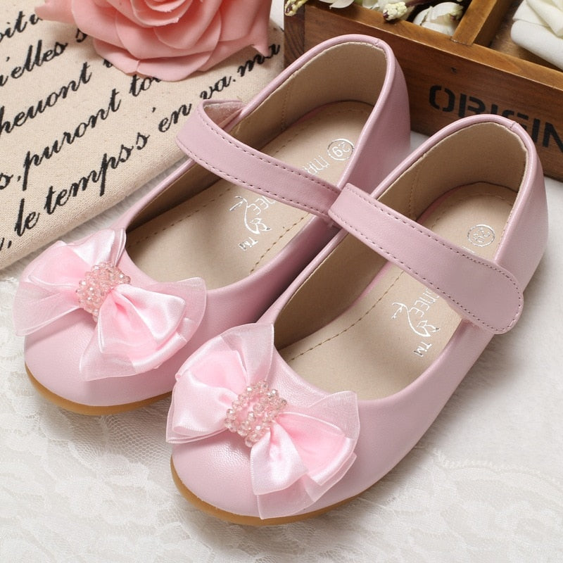 Girls princess shoes girls leather shoes Children Autumn Beaded Bowtie flower toddler girl school shoes wedding party shoes