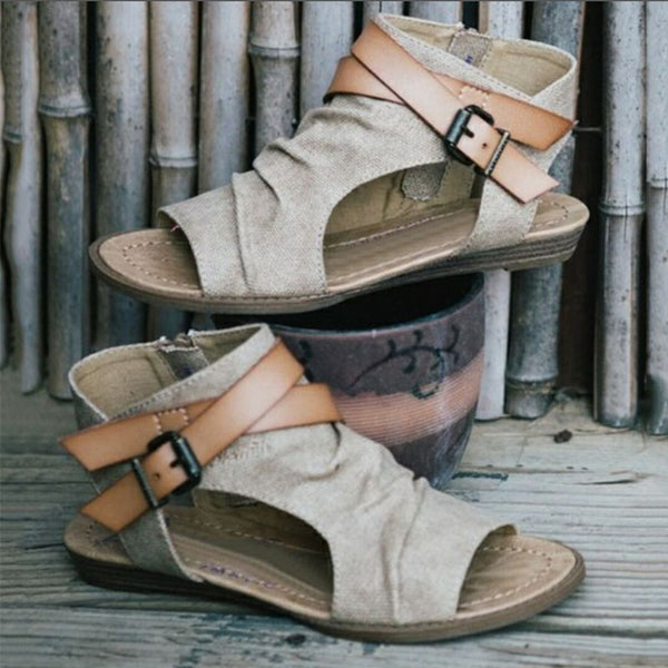 Women sandals new summer high quality denim fashion buckle gladiator flat Denim sandals for women big size 36- 42