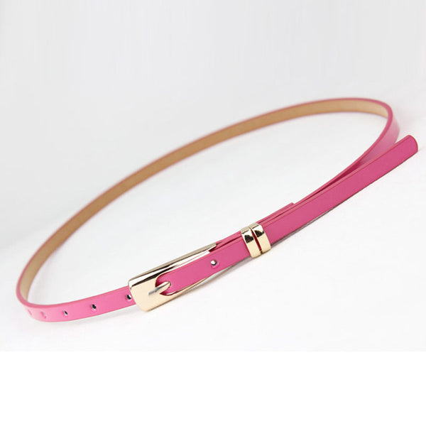 Fashoin Exquisite Ladies Women Solid Color Candy Colors Leather Belts Bow Skinny Thin Dress Waist Belt Waistband