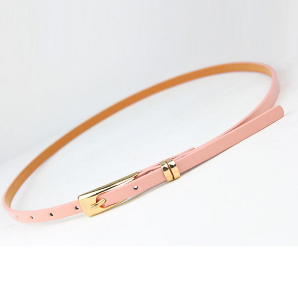 Fashoin Exquisite Ladies Women Solid Color Candy Colors Leather Belts Bow Skinny Thin Dress Waist Belt Waistband CC7243