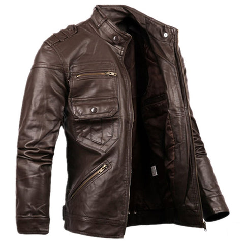 New Style Mens Zipper Leather Jacket and Coats Slim Fit Man Motorcycle Avirex Leather Jackets Male Clothing