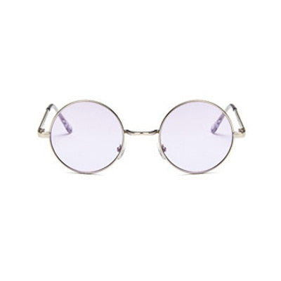 Fashion New Round Sunglasses Women Vintage Metal Frame Pink Yellow Lens Colorful Shade Sun Glasses UV400