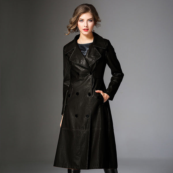 2018 Spring New High-end PU Leather Windbreakers European Style Women's Fashion Slim Long Trench Coat Elegant Female Outerwears